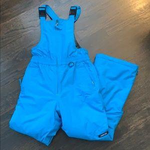 Girl's Lands' End Ski Bib Turquoise.